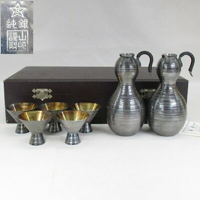 A355: REAL Japanese pure silver ware bottle for SAKE CHIRORI with cup 465g