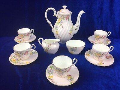EB FOLEY and CO England Coffee Pot Set 13 Piece Gold Flashed EXC Cup Duo Saucer