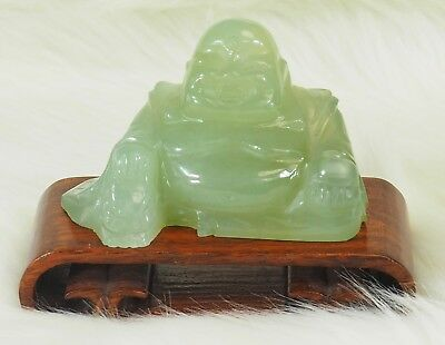 "Jade Carved Stone Buddha Figure Sitting on Wood Base - 3.75"" Tall with base"