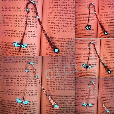 Retro Glowing Metal Dragonfly Bat Elk Bookmarks For Book Creative Pendant Gift