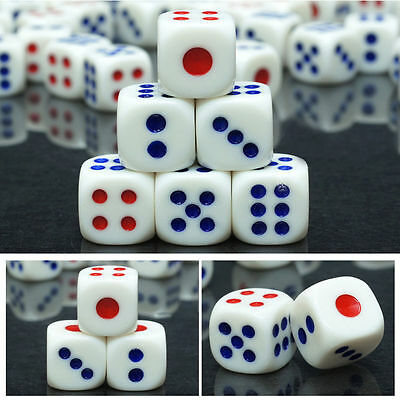 20X White Portable Square Six Sided Opaque Dice Table Games Bar Party Tool 10mm