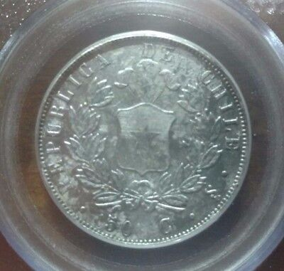 1853-So Chile 50 Centavos S.S. Central America Treasure PCGS Certified Very Nice