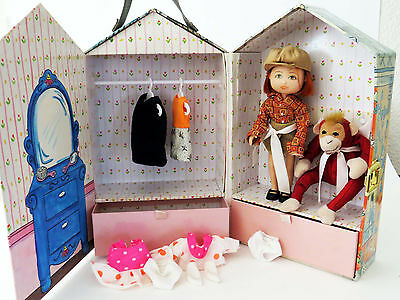 """MADELINE """"Old House in Paris"""" WARDROBE CASE w Red Haired DOLL + Clothes + Monkey"""