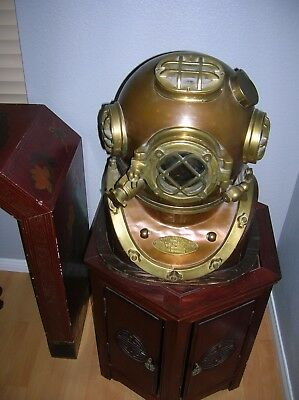 "Antique Replic Diving Helmet 18"" Vintage US Navy Mark V Divers Helmet With Base"