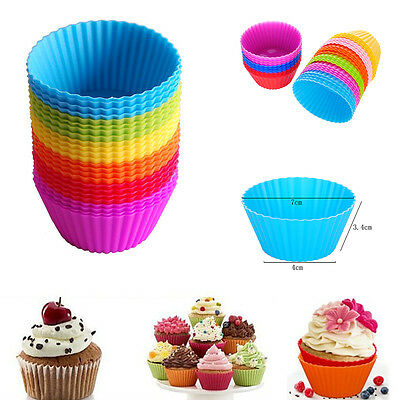 12pcs Reusable Silicone Baking Cups Cupcake Liners Muffin Cups Cake Molds DIY