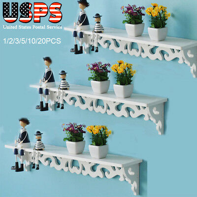 LOT White Wooden Carved Wall Shelf Display Hanging Rack Storage Rack Home Decor