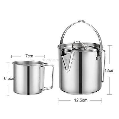 1.2L Portable Outdoor Kettle Stainless Steel Durable Picnic Camping Water Kettle