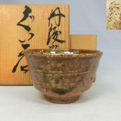 A434: Japanese TANBA pottery SAKE cup with good natural glaze w/signed box.