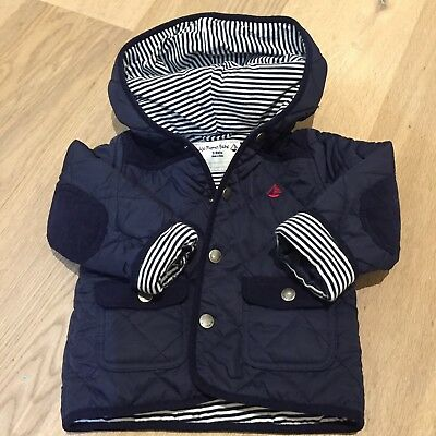 Jojo Maman Bebe Quilted Jacket Navy Blue 12-18months