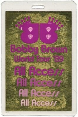 Bobby Brown authentic 1989 concert tour Laminated Backstage Pass ALL ACCESS