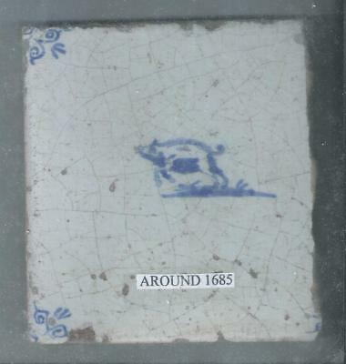 Antique Dutch Delft Tile Around 1685