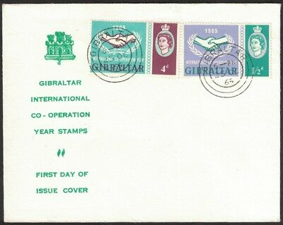 1965, Gibraltar, International Co - Operation Year, First Day Cover.