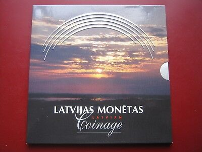 Latvia 1992 1999 UNC 8 coin collection set 1 Santims - 2 Lati in official folder