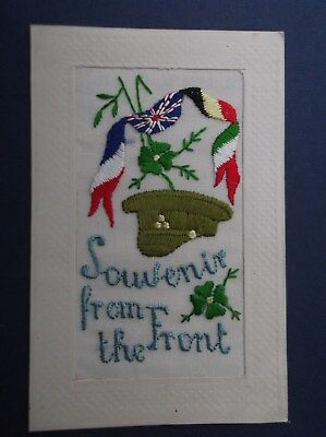 WW1 Embroidered  Silk Postcard : BRITISH SOLDIERS KHAKI CAP