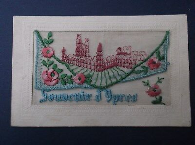 WW1 Embroidered  Silk Postcard : YPRES CLOTH HALL IN RUINS