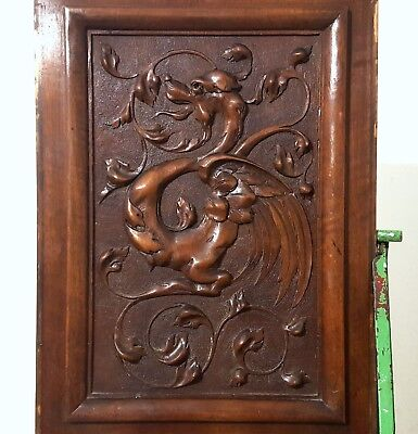 Hand Carved Wood Panel Antique French Griffin Architectural Salvage Carving