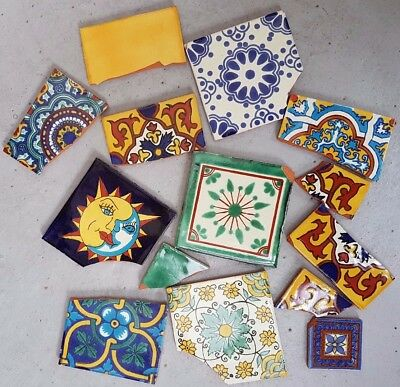 Broken Talavera Mexican Colourful Tiles for Mosiac Projects - 10kg