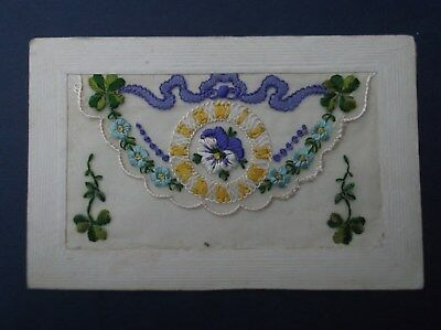WW1 Embroidered  Silk Postcard : FLORAL & CLOCK FACE