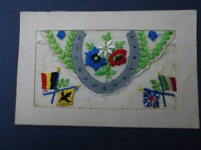 WW1 Embroidered  Silk Postcard : PATRIOTIC HORSESHOE