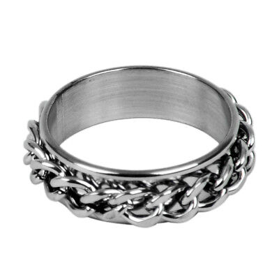 Men's Stainless Steel Curb Chain Band Ring UK Size: T 1/2 - Silver O8T4