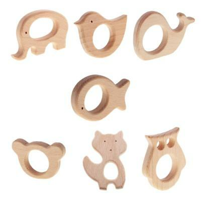 7pcs/Lot Wooden Teething Ring Untreated Natural Organic Wood Teether Ring