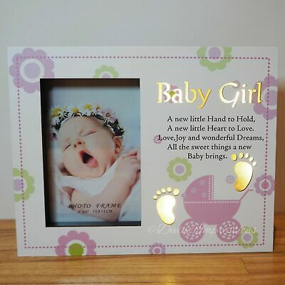 Baby Girl LED Wooden Photo Picture Frame Night Light Up Pink Nursery Decor Baby