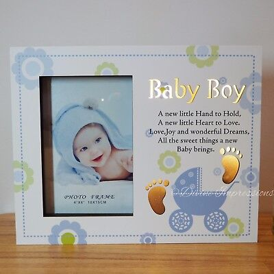 Baby Boy LED Wooden Photo Picture Frame Night Light Up Blue Nursery Decor Baby