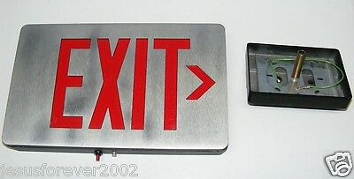 Vtg. Sure-Lites Brushed Aluminum Industrial Steampunk Man Cave Safety Exit Sign