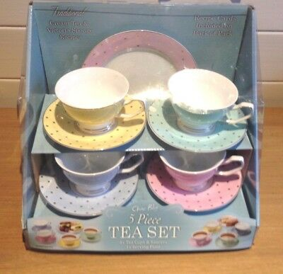 5 Piece Tea Set China with recipe cards 4 cups & saucers & 1 serving plate