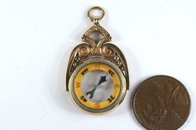 ANTIQUE EDWARDIAN ERA ENGLISH 9ct GOLD COMPASS FOB / CHARM c1914