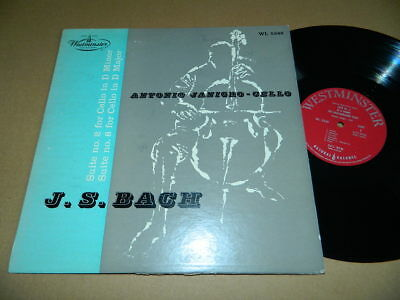 ANTONIO JANIGRO- JS BACH SUITE #2 / #6 FOR SOLO CELLO-1954 U.S.WESTMINSTER-Ex/Vg