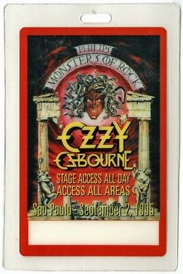 Ozzy Osbourne authentic 1995 Laminated Backstage Pass Monsters of Rock Tour