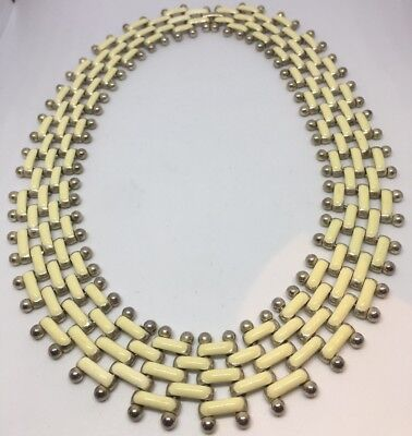 Stylish Vintage Silver Tone Enamelled Chain Link Necklace