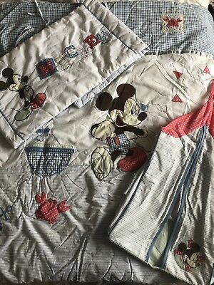Mothercare Mickey Mouse Nursery Set. Cot Quilt, Bumper & Nappy Storage Holder