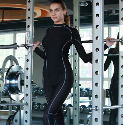 Ladies Long Sleeve Compression Performance Top & Full Length Tights Set New