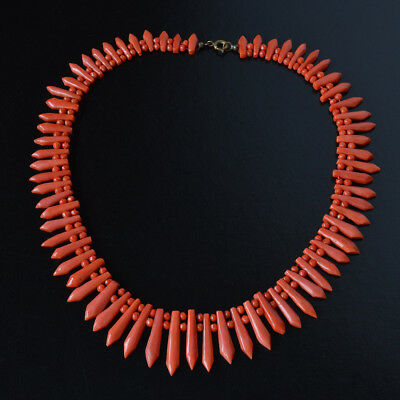 Antique Art Deco 1920s Natural Red Salmon Carved Coral Bead Necklace