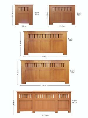 Oak Style Modern MDF Wood Radiator Cover Cabinet - Panel Grill