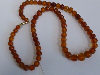 Antique faceted amber  6mm bead string with 9ct gold catch
