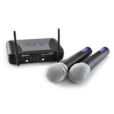 Super Skytec Stwm722 Dj Pa Uhf Funk Mikrofon Set Wireless Karaoke Party Mikros