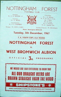 Nottingham Forest v West Bromwich Albion FA Youth Cup 2nd Round 1967/68