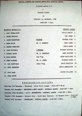 Plymouth Argyle Res v Newport County Res South West Counties League 1988/89