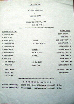 Plymouth Argyle v Newport County FA Youth Cup 1988/89