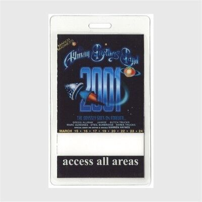 Allman Brothers authentic 2001 concert Laminated Backstage Pass March Madness