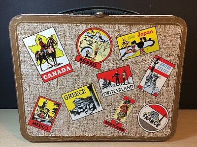 VINTAGE 1960'S OHIO ART TRAVEL THE WORLD  METAL LUNCHBOX Brown