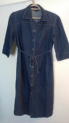 Thyme Maternity Denim Blue Jeans Casual Dress Tie Waist 3/4 Sleeve Size Small
