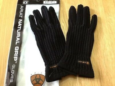 Ariat Natural Grip Riding Gloves (Black/Medium)