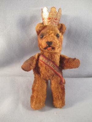 Vintage Berlin Germany Miniature Jointed Bear with Crown & Banner