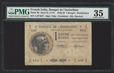 1938 French India 1 Roupie Rupee, PMG 35 VF+/aEF, P-4d, EXTREMELY RARE GRADE!!!