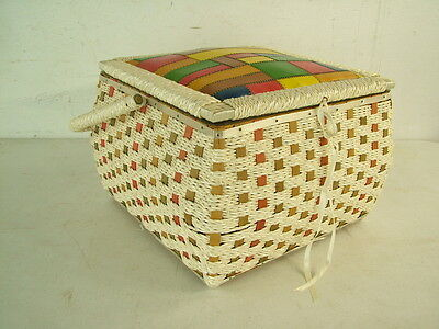Colorful Mid Century 1950s Leather Patchwork Top Vintage Sewing Box Pennys Japan