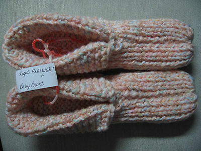 NWOT Amish Handmade Knit House Slippers w/cuffs Peach Mix Wms Lg Mans Med 9 1/2""